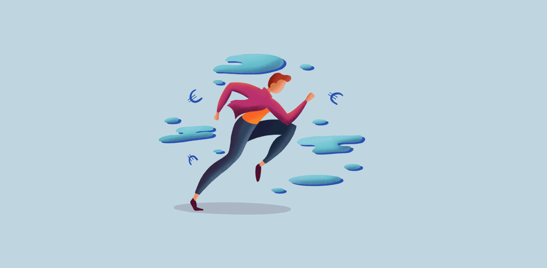 Illustration of a woman running in between blue clouds and euro currency icons.