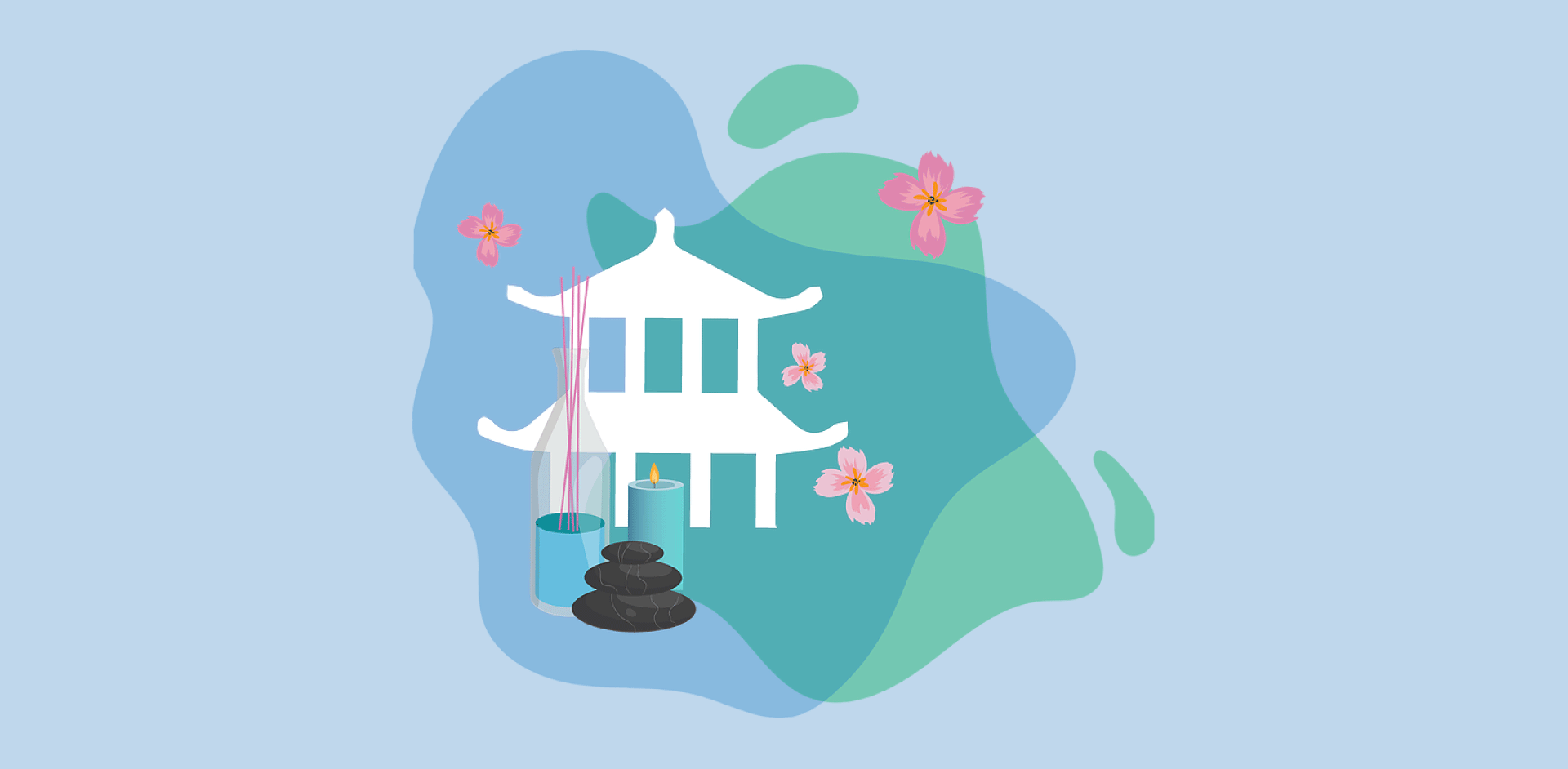 Vector illustration of a temple and wellness centre